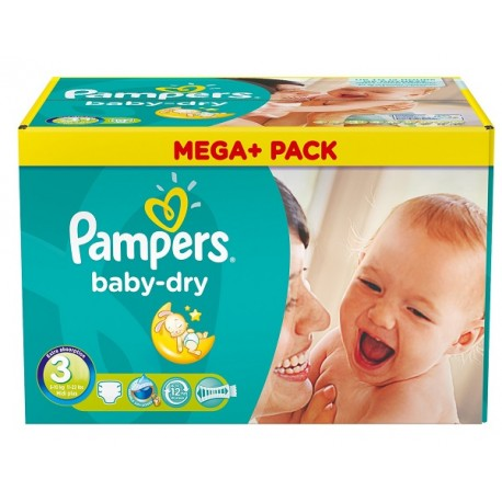 Pampers - Pack jumeaux 812 Couches Baby Dry taille 3 sur Couches Poupon