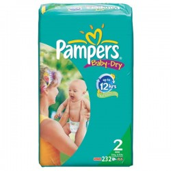 Pampers - Mega pack 174 Couches Baby Dry taille 2 sur Couches Poupon