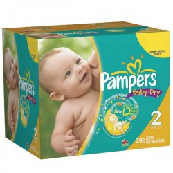 Pampers - Maxi mega pack 406 Couches Baby Dry taille 2 sur Couches Poupon
