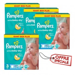 Pampers - Pack 60 Couches Active Baby Dry taille 3 sur Couches Poupon