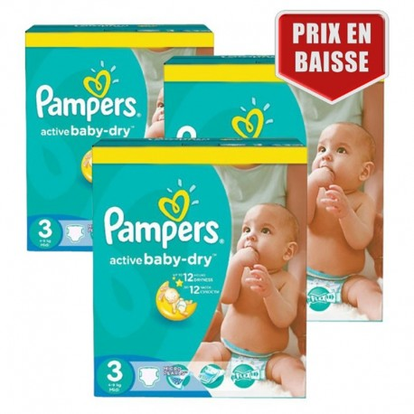 Pampers - Pack 75 Couches Active Baby Dry taille 3 sur Couches Poupon