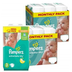 Pampers - Mega pack 165 Couches Active Baby Dry taille 3 sur Couches Poupon