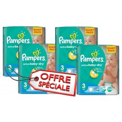 Pampers - Mega pack 180 Couches Active Baby Dry taille 3 sur Couches Poupon