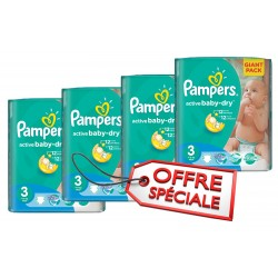 Pampers - Giga pack 210 Couches Active Baby Dry taille 3 sur Couches Poupon