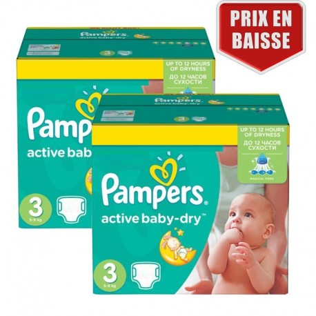Pampers - Giga pack 270 Couches Active Baby Dry taille 3 sur Couches Poupon