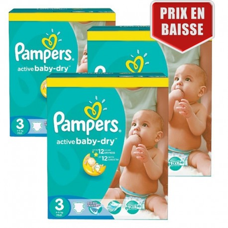 Pampers - Giga pack 285 Couches Active Baby Dry taille 3 sur Couches Poupon