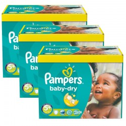Pampers - Pack jumeaux 672 Couches Baby Dry taille 5+ sur Couches Poupon