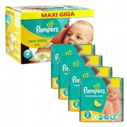 Pampers - Pack jumeaux 1152 Couches New Baby Dry taille 2 sur Couches Poupon