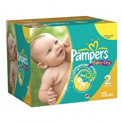 Pampers - Pack jumeaux 1440 Couches New Baby Dry taille 2 sur Couches Poupon