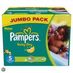 Pampers - Pack jumeaux 608 Couches Baby Dry taille 5 sur Couches Poupon
