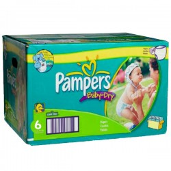 Pampers - Pack 76 Couches Baby Dry taille 6 sur Couches Poupon