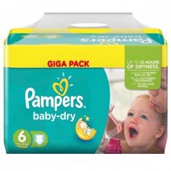 Pampers - Giga pack 266 Couches Baby Dry taille 6 sur Couches Poupon