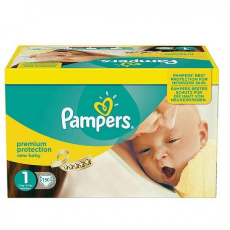 Pampers - Maxi giga pack 308 Couches Premium Protection taille 1 sur Couches Poupon