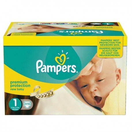 Pampers - Maxi giga pack 330 Couches Premium Protection taille 1 sur Couches Poupon