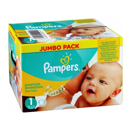 Pampers - Maxi giga pack 396 Couches Premium Protection taille 1 sur Couches Poupon