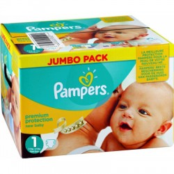 Pampers - Maxi mega pack 440 Couches Premium Protection taille 1 sur Couches Poupon