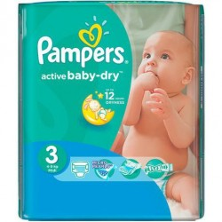Pampers - Mega pack 124 Couches Active Baby Dry taille 3 sur Couches Poupon