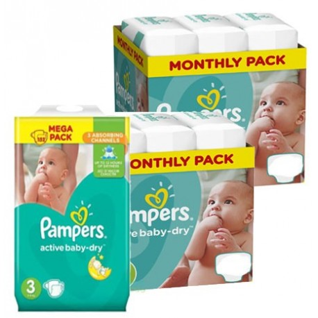Pampers - Maxi giga pack 372 Couches Active Baby Dry taille 3 sur Couches Poupon