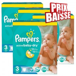 Pampers - Pack jumeaux 868 Couches Active Baby Dry taille 3