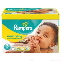 Pampers - Pack jumeaux 612 Couches New Baby Premium Protection taille 3 sur Couches Poupon