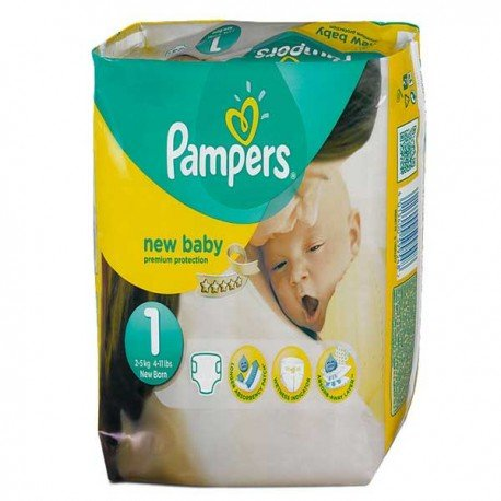 Pampers - Pack 56 Couches Premium Protection taille 1 sur Couches Poupon