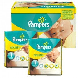 Pampers - Mega pack 112 Couches Premium Protection taille 1 sur Couches Poupon