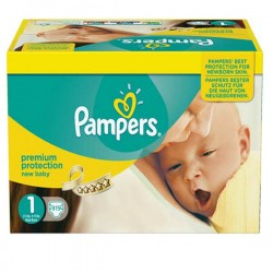 Pampers - Giga pack 224 Couches Premium Protection taille 1 sur Couches Poupon