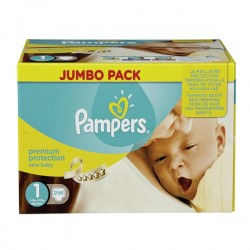 Pampers - Giga pack 280 Couches Premium Protection taille 1 sur Couches Poupon