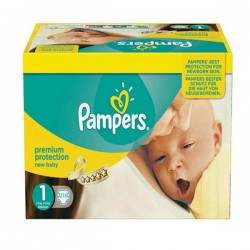 Pampers - Pack jumeaux 672 Couches Premium Protection taille 1 sur Couches Poupon