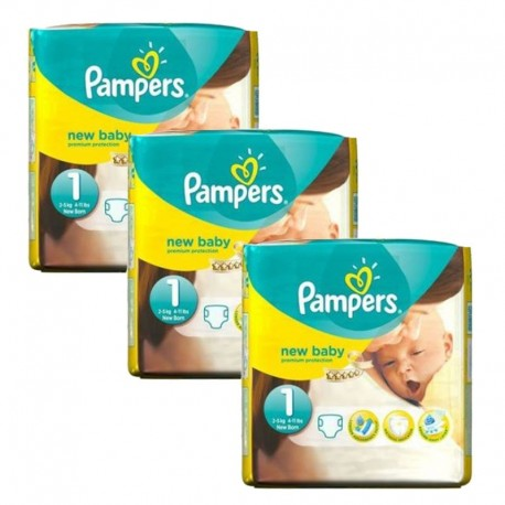 Pampers - Pack jumeaux 728 Couches Premium Protection taille 1 sur Couches Poupon