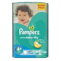 Pampers - Pack 58 Couches Active Baby Dry taille 4+ sur Couches Poupon