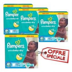 Pampers - Mega pack 116 Couches Active Baby Dry taille 4+ sur Couches Poupon