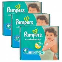 Pampers - Mega pack 174 Couches Active Baby Dry taille 4+ sur Couches Poupon