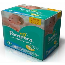 Pampers - Giga pack 232 Couches Active Baby Dry taille 4+ sur Couches Poupon