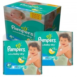 Pampers - Giga pack 290 Couches Active Baby Dry taille 4+ sur Couches Poupon