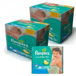 Pampers - Maxi giga pack 348 Couches Active Baby Dry taille 4+ sur Couches Poupon