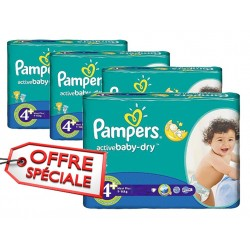 Pampers - Maxi mega pack 406 Couches Active Baby Dry taille 4+ sur Couches Poupon