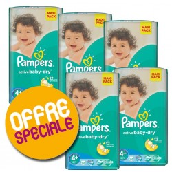 Pampers - Pack jumeaux 522 Couches Active Baby Dry taille 4+ sur Couches Poupon