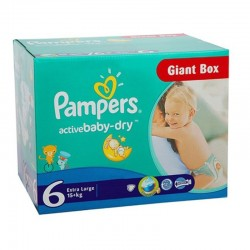 Pampers - Maxi giga pack 336 Couches Active Baby Dry taille 6 sur Couches Poupon