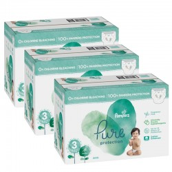 Pampers - Giga pack 286 Couches Pure Protection taille 3 sur Couches Poupon