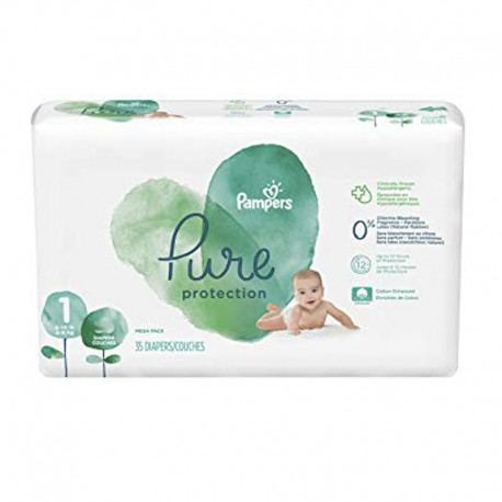 Pampers - Pack 35 Couches Pure Protection taille 1 sur Couches Poupon
