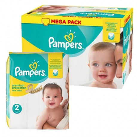 Pampers - 155 Couches New Baby Premium Protection taille 2 sur Couches Poupon