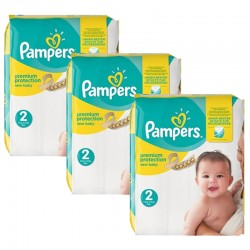 Pampers - 341 Couches New Baby Premium Protection taille 2 sur Couches Poupon