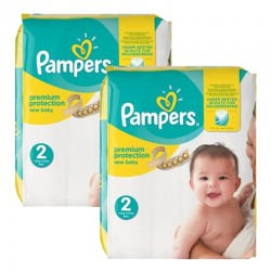 Pampers - 434 Couches New Baby Premium Protection taille 2 sur Couches Poupon
