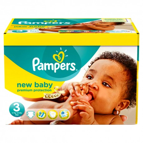 Pampers - 140 Couches New Baby Premium Protection taille 3 sur Couches Poupon