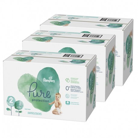 Pampers - Giga pack 297 Couches Pure Protection taille 2 sur Couches Poupon