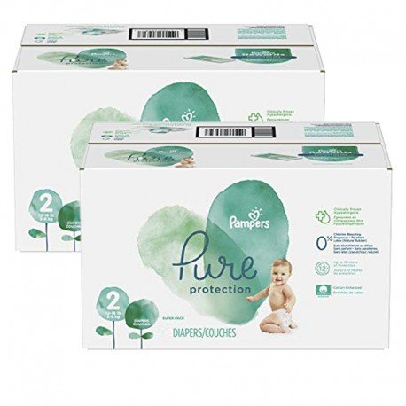 Pampers - Maxi giga pack 324 Couches Pure Protection taille 2 sur Couches Poupon