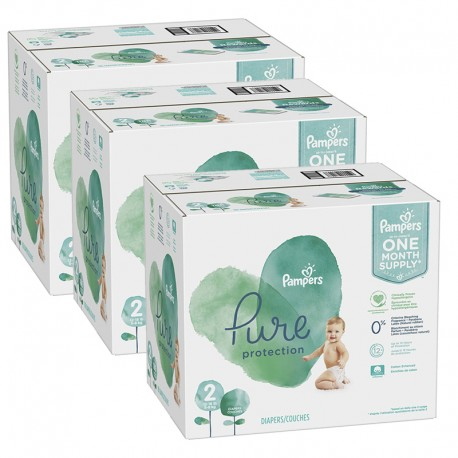 Pampers - Maxi giga pack 378 Couches Pure Protection taille 2 sur Couches Poupon