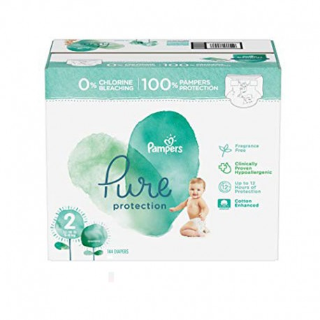 Pampers - Maxi mega pack 405 Couches Pure Protection taille 2 sur Couches Poupon