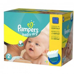 Pampers - 138 Couches Baby Dry taille 2 sur Couches Poupon